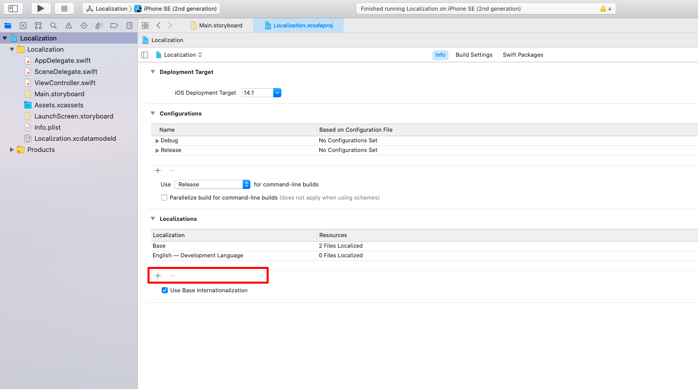 Добавляем локализацию в настройках Xcode часть 2