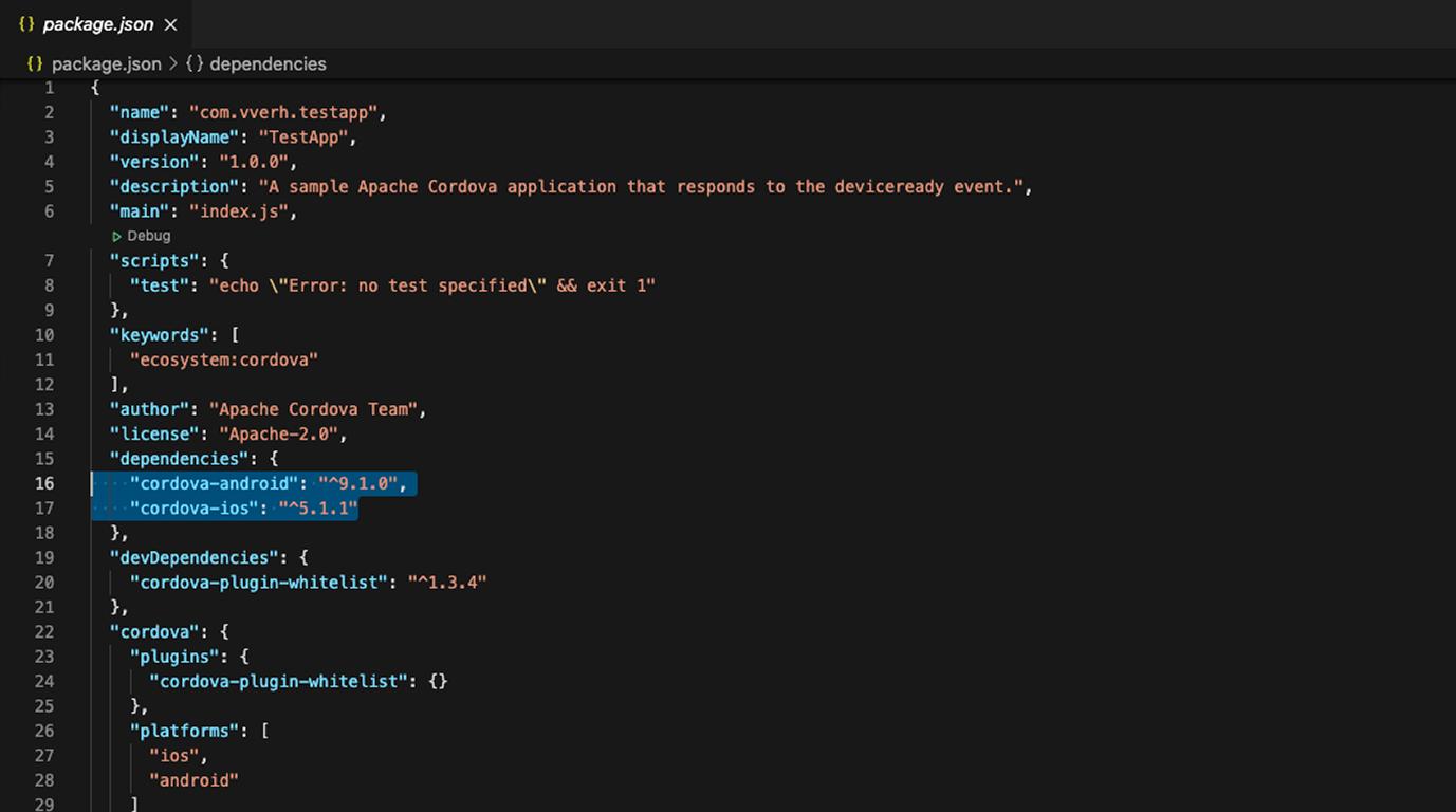 проверяем версии платформ в package.json