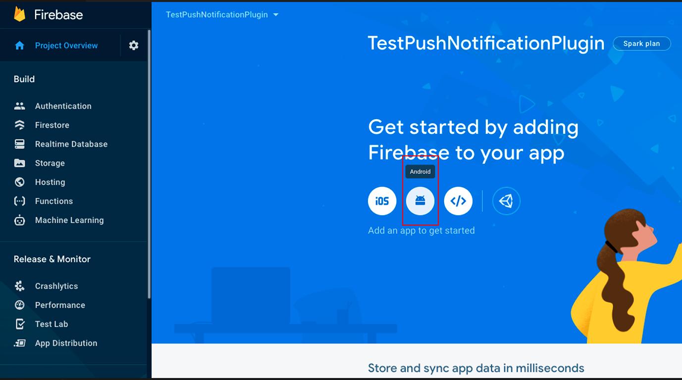 подключаем android приложение в firebase